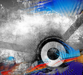 Grunge music illustration with speaker