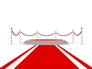Round pedestal with barriers and red carpet towards camera