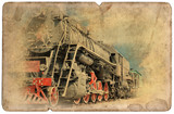 Vintage military postcard isolated, old locomotive