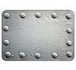 Metal plate with rivets isolated on white background