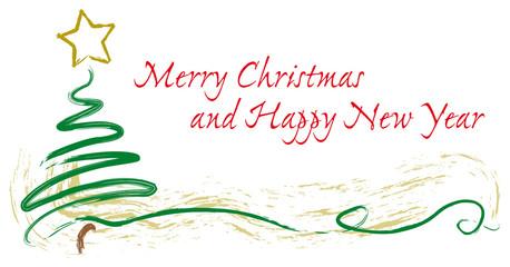 Cartolina di Natale con albero e stella a pennello