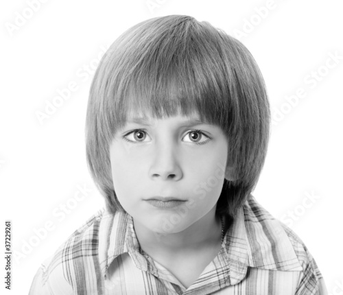 boy troubled isolated on white