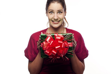 Pretty young woman with present