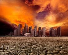Miasto z widokiem na pustynię krajobraz