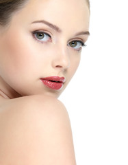 Beautiful face of  young girl with red lipstick