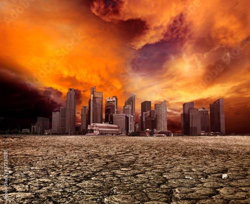 Leinwandbild Motiv City overlooking desolate landscape