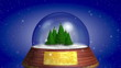 growing pines tree with snow, souvenir and place for text
