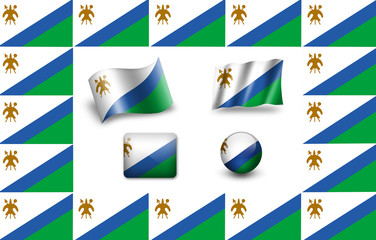 flag of Lesotho. icon set. flags frame