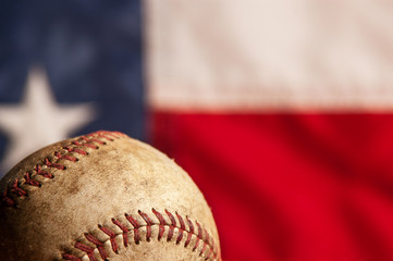Vintage baseball with American flag