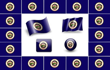 Flag of Minnesota. icon set