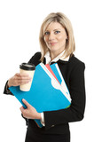 Business woman with folders and coffee cup