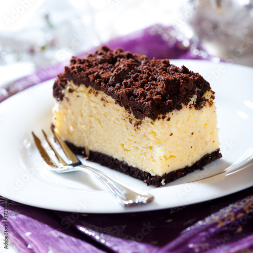 Piece of delicious christmas cheesecake