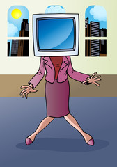 Businesswoman monitor face