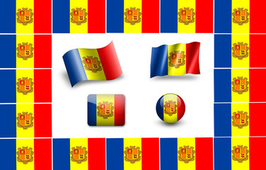 Sovereign state flag of country of Andorra in official colors