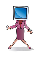 Businesswoman with computer screen for head