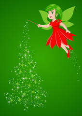 Vector illustration of a pixie making a Christmas tree