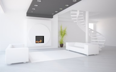 white interior design with stair and furniture