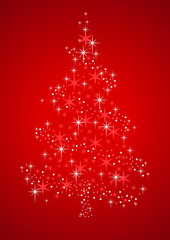 Vector illustration of a Christmas Tree formed from stardust