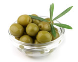 Olive on plate with branches