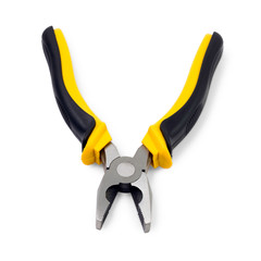 Yellow pliers isolated on white background