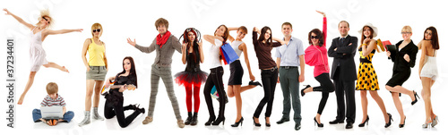 group people happy isolated on white