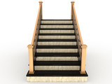Marble staircase with wooden handrail №3 poster