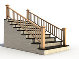 Marble staircase with wooden handrail №2 poster