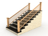 Marble staircase with wooden handrail  №1 poster