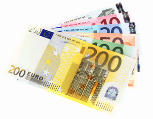 Euro banknotes, fan made of euro paper currency