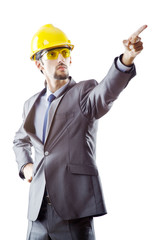 Man with hard hat on white