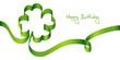 """Green Bow Clover-Leaf """"Happy Birthday"""""""
