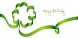 "Green Bow Clover-Leaf ""Happy Birthday"""