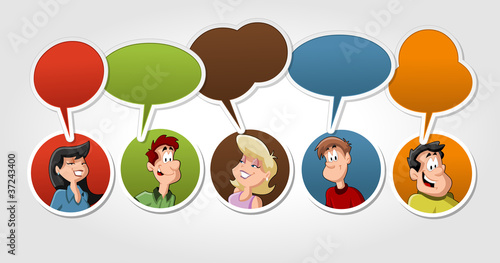 Group of cartoon people talking with speech balloon