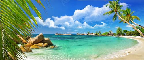 Leinwanddruck Bild tropical paradise - Seychelles islands