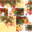 Christmas background - set from red decoration, gold star, Xmas