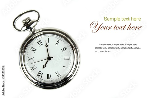 canvas print picture Pocket watch on white background.
