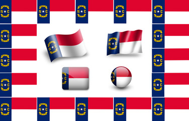 Flag of North Carolina, USA.  icon set. flags frame
