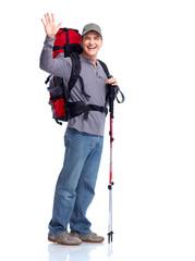 Hiker man tourist. Hiking.