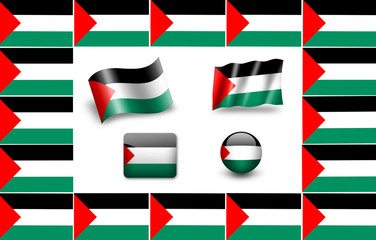 Flag of Palestinians. icon set. flags frame