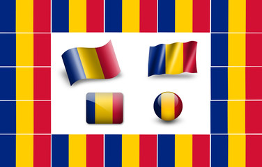 Flag of Romania. icon set. flags frame
