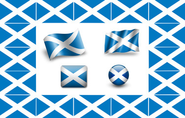 Flag of Scotland. icon set. flags frame