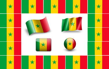 Flag of Senegal. icon set. flags frame