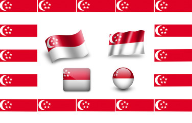 Flag of Singapore. icon set. flags frame