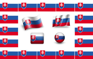 Flag of Slovakia. icon set. flags frame