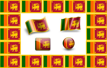 Flag of Sri Lanka. icon set. flags frame