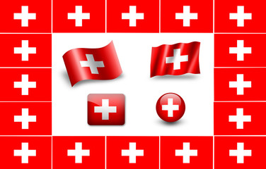Flag of Switzerland. icon set. flags frame