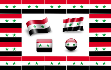 Flag of Syria. icon set. flags frame