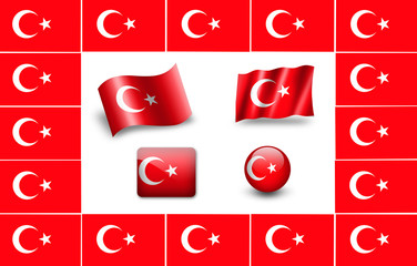 Flag of turkey. icon set. flags frame