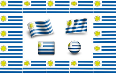 Flag of Uruguay.icon set. flags frame