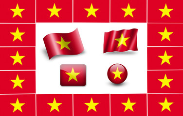 flag of vietnam. icon set. flags frame